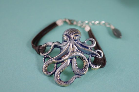 Jewelry gift: A bracelet that speaks of the deep. Ocotopus Silver Brass and Icy Blue Patina Bracelet by ByTheSeashoreDecor, $32.00