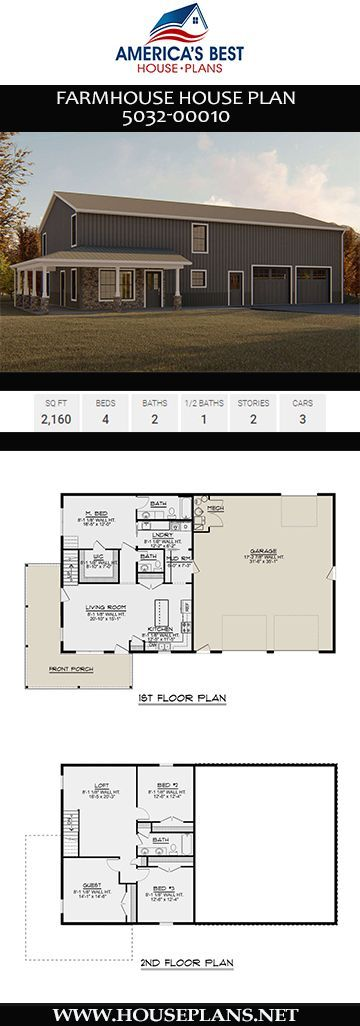 Farmhouse Plan Plan 5032 00010 Delivers A 2 160 Sq Ft Farmhouse Design Complete With 4 Bedrooms 2 B Barn House Plans House Plans Farmhouse Farmhouse Plans
