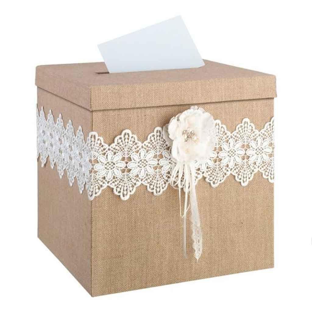burlap and lace card box | deco mariage, diy et mariages