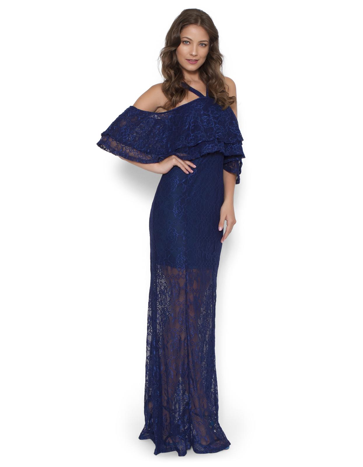 fd889b90b9f8 Vestido Longo Lucy in The Sky Renda com Babado Azul-Marinho | Products
