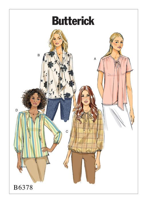 73c61b4e Butterick Misses' Gathered Tops and Tunics with Neck Ties 6378 image 1