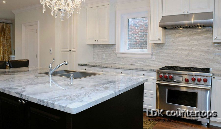 Amazing White Quartzite Countertops   Kitchen Island