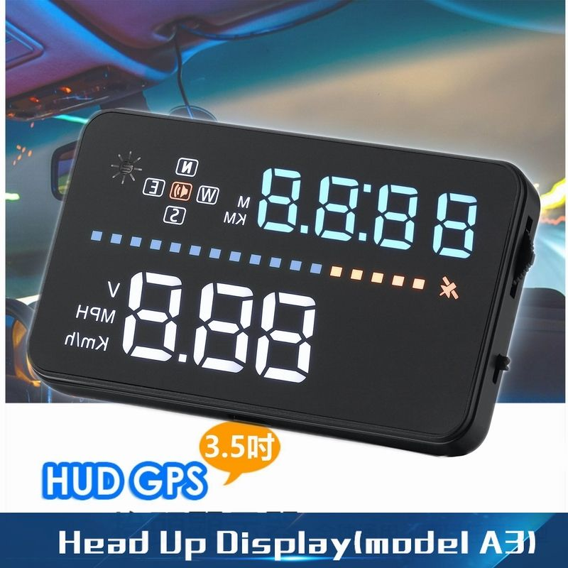 A3 New Car Hud A3 3 5 Screen Gps Head Up Display With Speedometer Kmh Mph Speeding Warning Compass Compatible For O Car Head Car Gps