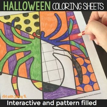 Interactive Halloween Coloring Pages Writing Prompts Fun Halloween Activity Halloween Art Lessons Halloween Coloring Sheets Halloween Art Projects
