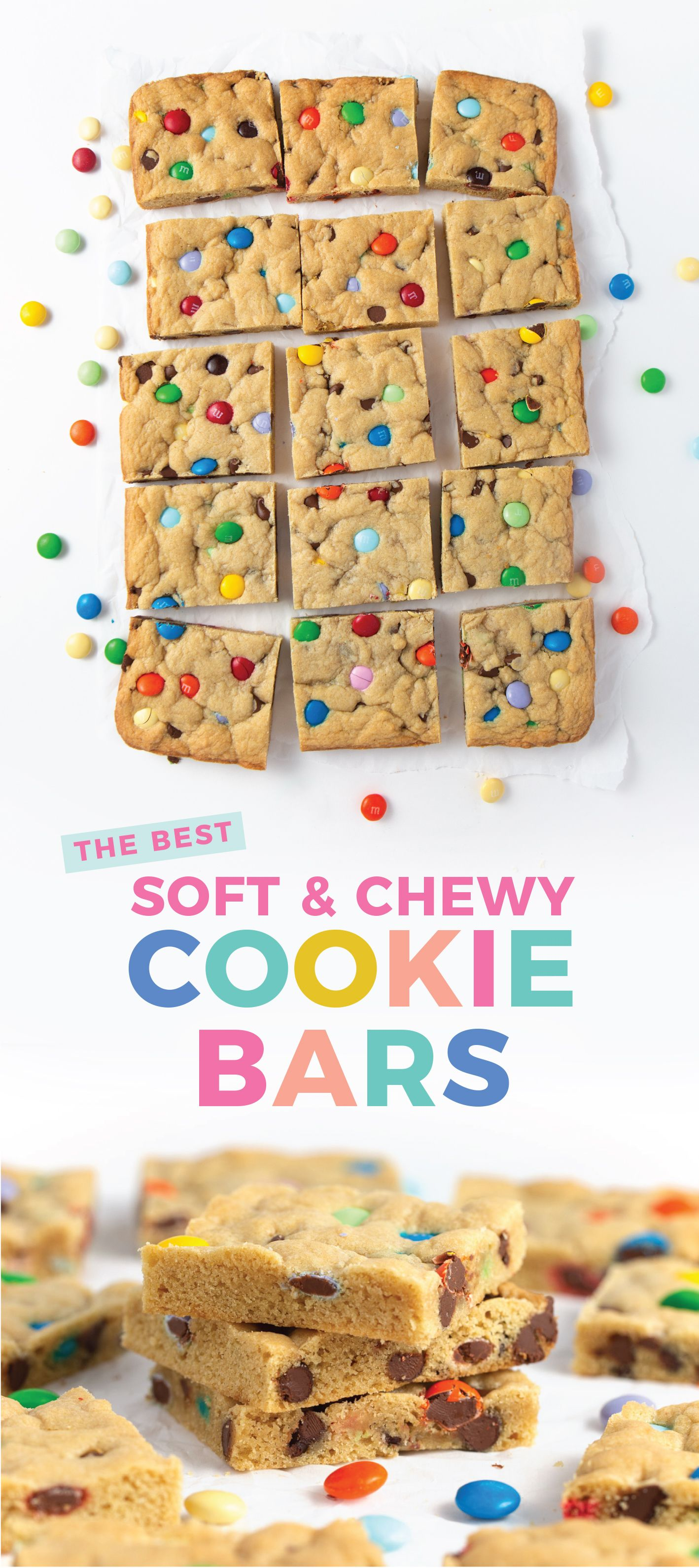 The BEST Chewy M&M Cookie Bars - Design Eat Repeat
