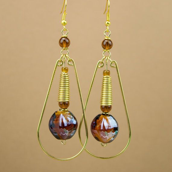 Brown African Amani Brass Earrings by MasaiMarkets on Etsy