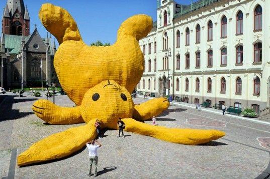 As part of this summer's openART biennale in Örebro, Sweden, Dutch artist Florentijn Hofman built this giant, 13-meter-high yellow bunny using local materials and craftsmen.
