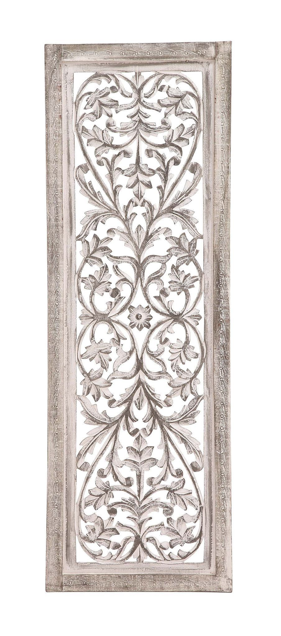 48 White Shabby Moroccan Leaf Wood Wall Art Panel French