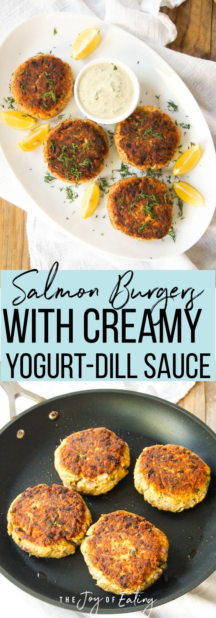Salmon Burgers with Creamy Yogurt-Dill Sauce — Registered Dietitian Columbia SC - Rachael Hartley Nutrition #fishmeal
