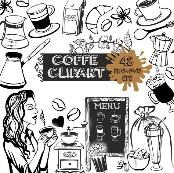 Coffee clipart black and white, Coffee svg, coffee clipart