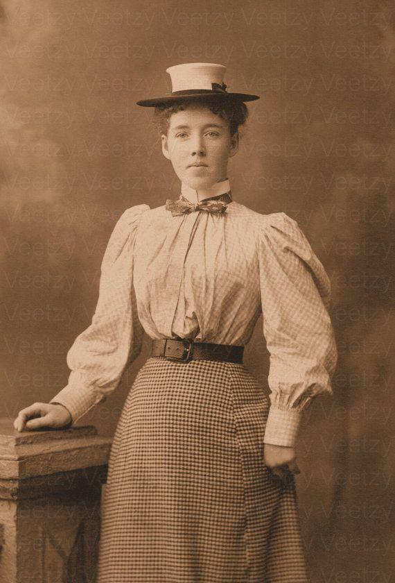 Digital Download Victorian Woman Boater Hat Edwardian Corset Long Skirt  Dress Antique Photograph Vintage Photo Printable Image c3cf12b444a