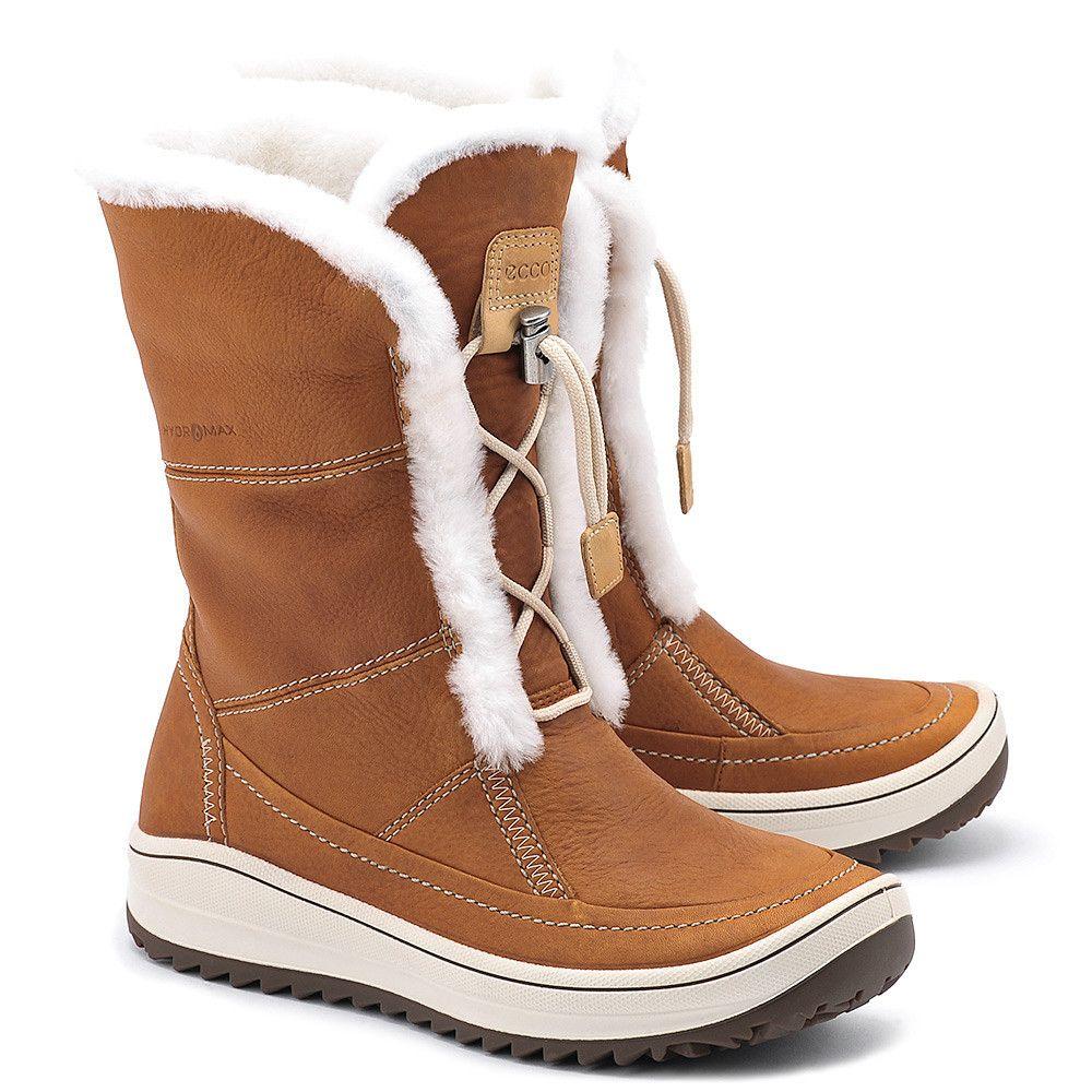 Ecco Trace Brazowe Skorzane Kozaki Damskie Buty Kobiety Kozaki Mivo Boots Shoes Winter Boot