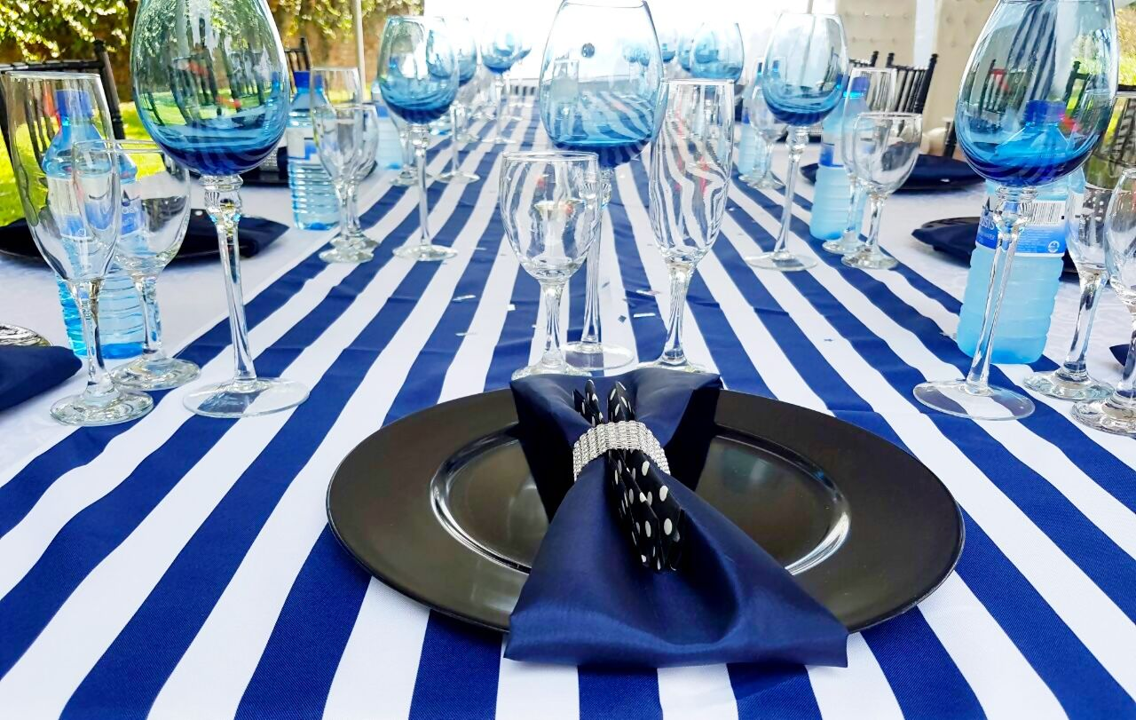 Black Navy Blue And White Party Decor Shongaevents Table Decorations Decor White Party