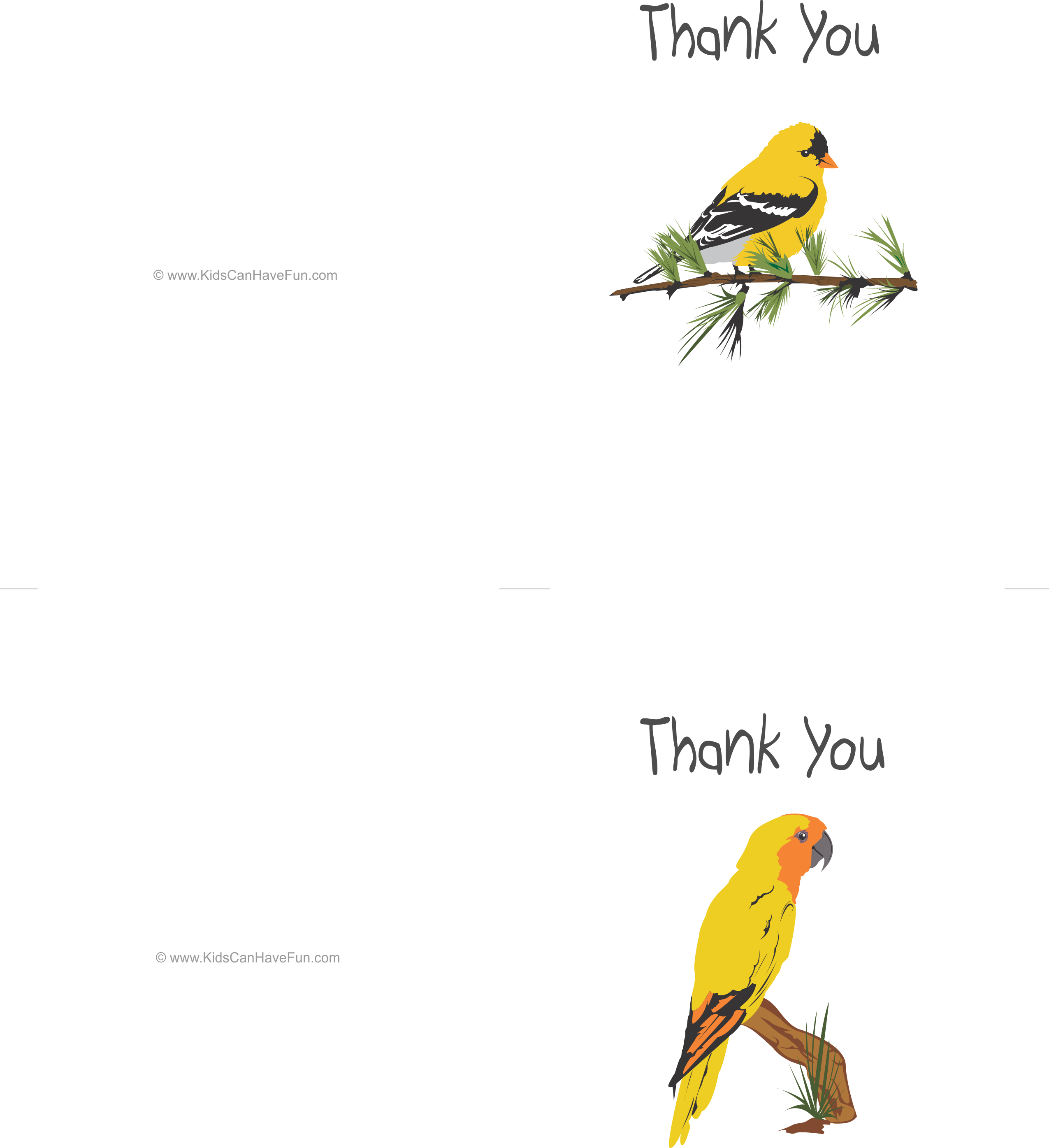 Free Yellow Birds Thank You Cards Blank Inside 2 Cards Per Sheet