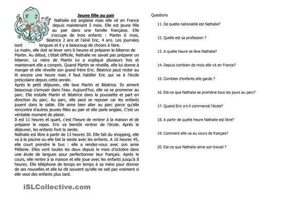 Compréhension De L Oral A2 Le Jeune Fille Au Pair Aula De Frances Aprender Frances Idioma