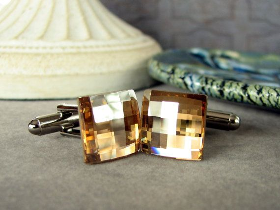 Mens Cuff Links Golden Shadow Swarovski Crystal Square by adornyou, $19.95
