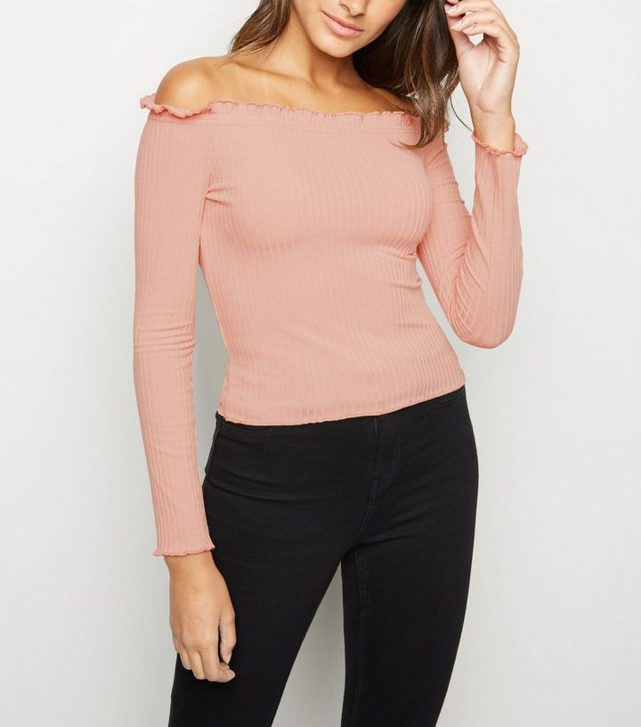 543af232adeb7 Pale Pink Long Sleeve Frill Bardot Top in 2019