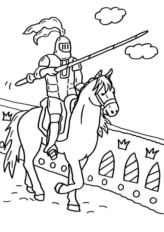 Ausmalbild Ritter Und Drachen Ritter Mit Lanze Ausmalen Kostenlos Ausdrucken Ausmalen Ausmalbilder Ritter Ritter