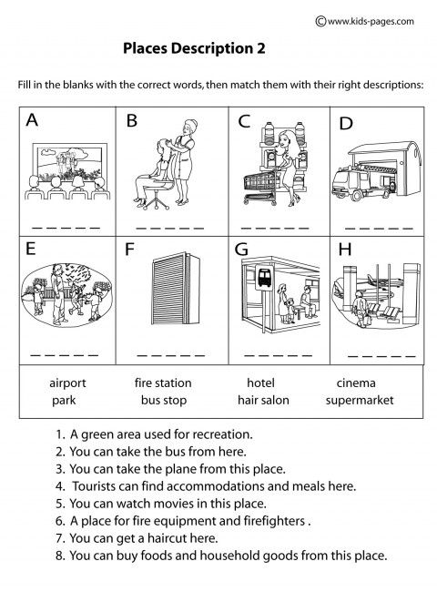 Place Descriptions 2 B&W worksheets | Educational ...