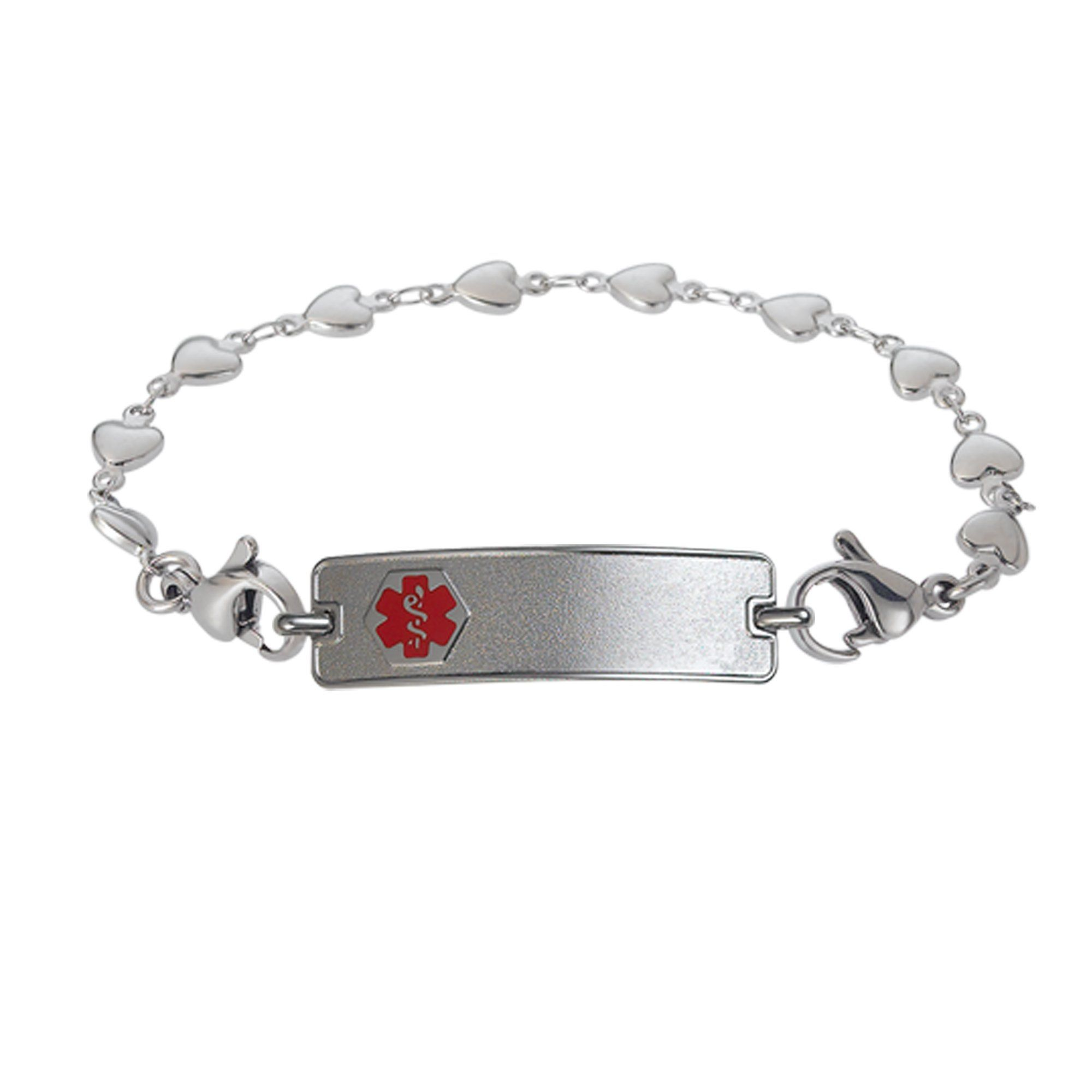My Identity Doctor Pre-Engraved /& Customized No Nsaids ID Bracelet Pink Red Millefiori Glass