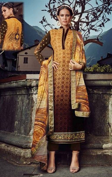 Picture of Artistic Beige and Brown Velvet Designer Pant Kameez