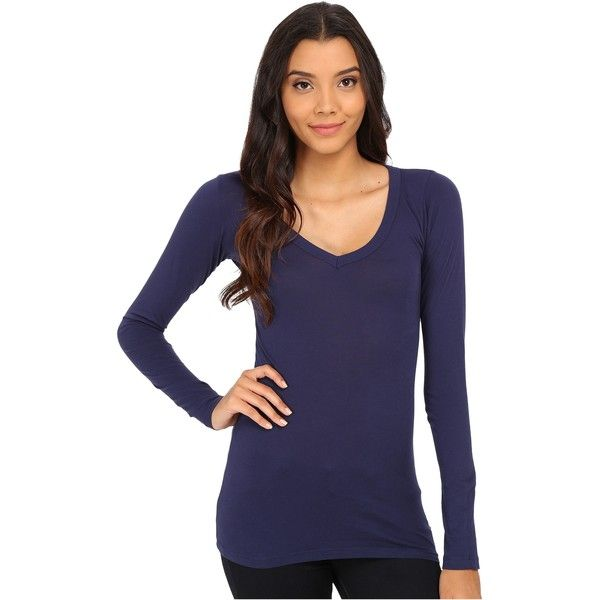 eded030c367 LAmade Fitted V-Neck Tee Women's Long Sleeve Pullover, Navy ($23) ❤ liked  on Polyvore featuring tops, t-shirts, navy, navy blue pullover, long sleeve  t ...
