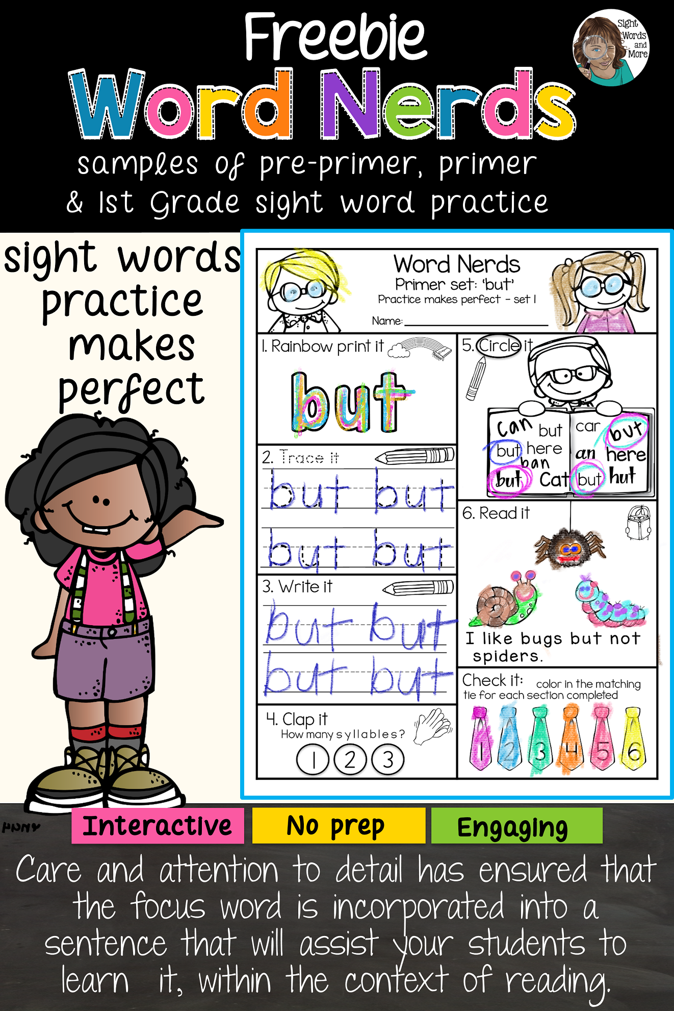 Sight Words From The Word Nerd Series Freebie Sight Words Word Nerd Sight Word Practice [ 1981 x 1322 Pixel ]