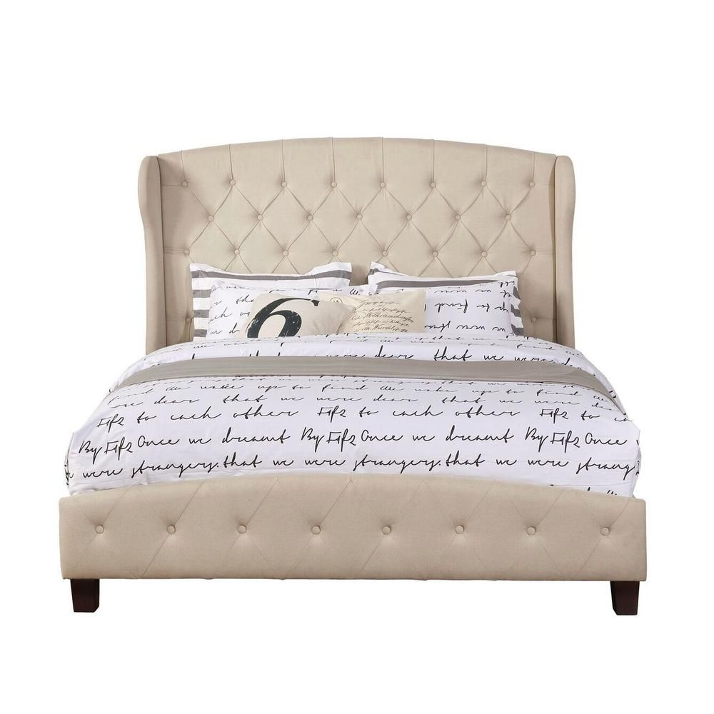 Nathaniel Home Beige Queen Size Upholstered Shelter Bed In 2020