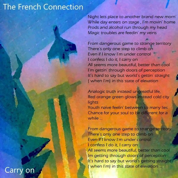 "Hello ! This is The French Connection . Watch ""Carry On"" video extract at https://youtu.be/9EL2oegyna4?t=34s Keep in Touch ."