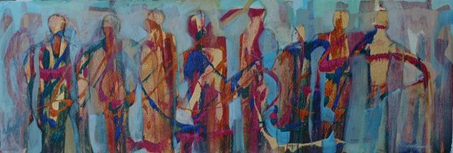 Storyboard is an Acrylic painting of abstract figures on rough ...