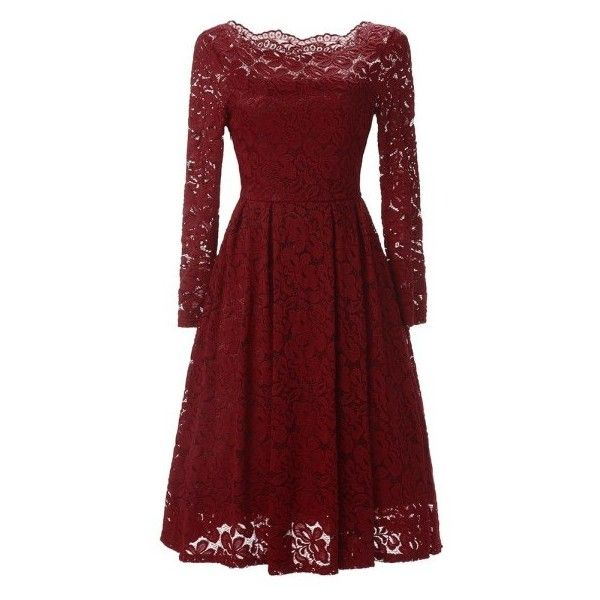 Retro Style Rockabilly Off Shoulder Swing Floral Lace Party Dress ($33) ❤ liked on Polyvore featuring dresses, red floral dress, floral dresses, lace dress, floral cocktail dresses and off-the-shoulder lace dresses