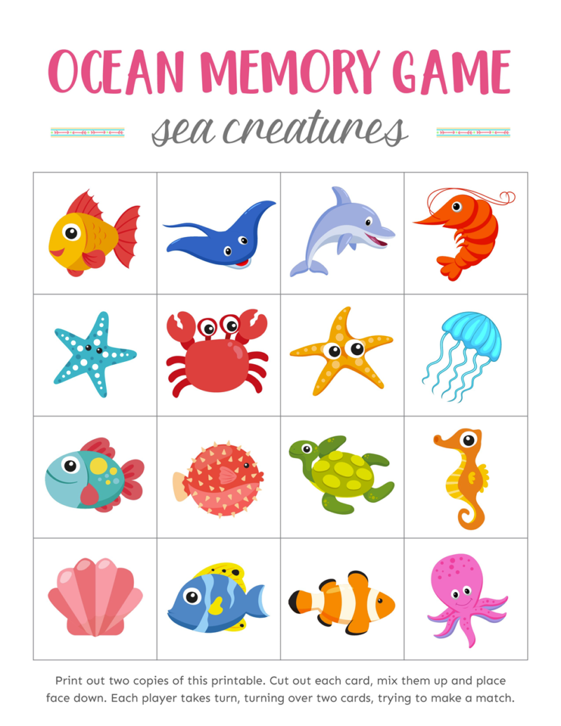 Oceans Memory Games for Kids Download Free Printables