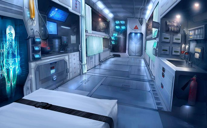 Sci Fi Hospital Room : Industry rooms medical science futuristic