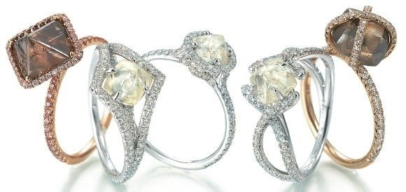 Engagement rings. These modern engagement rings by Diamonds in the Rough have a contemporary design, yet the rough diamonds give them an ancient look. For the bride wanting a truly unique, one-of-a-kind ring, a rough diamond might be just the thing.