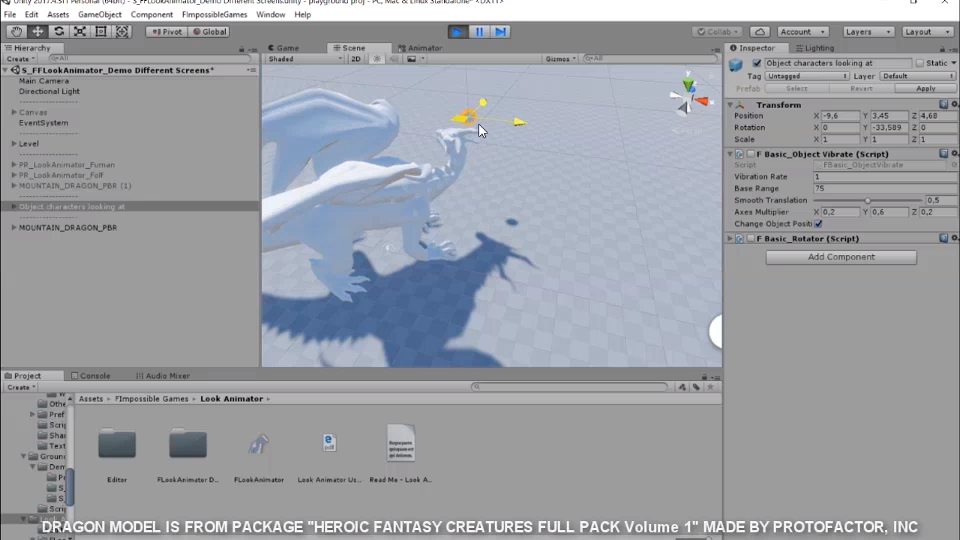 Setting my newest package to animate procedurally dragon