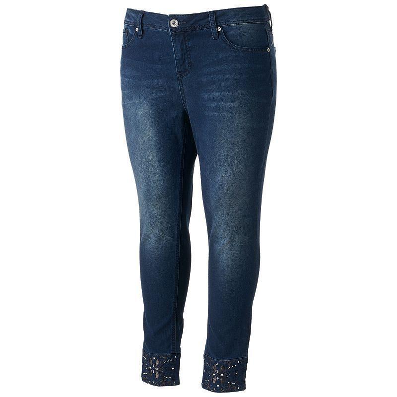 761dcd2838a7a Juniors  Plus Size Hydraulic Lola Curvy Embellished Skinny Jeans ...