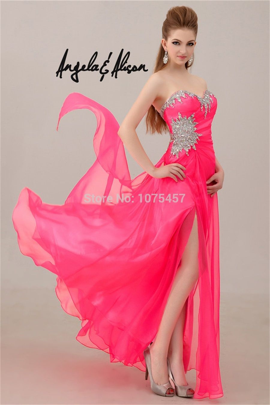 Free Shipping Sexy High Slit Prom Dress With Crystal 2014 Keyhole ...
