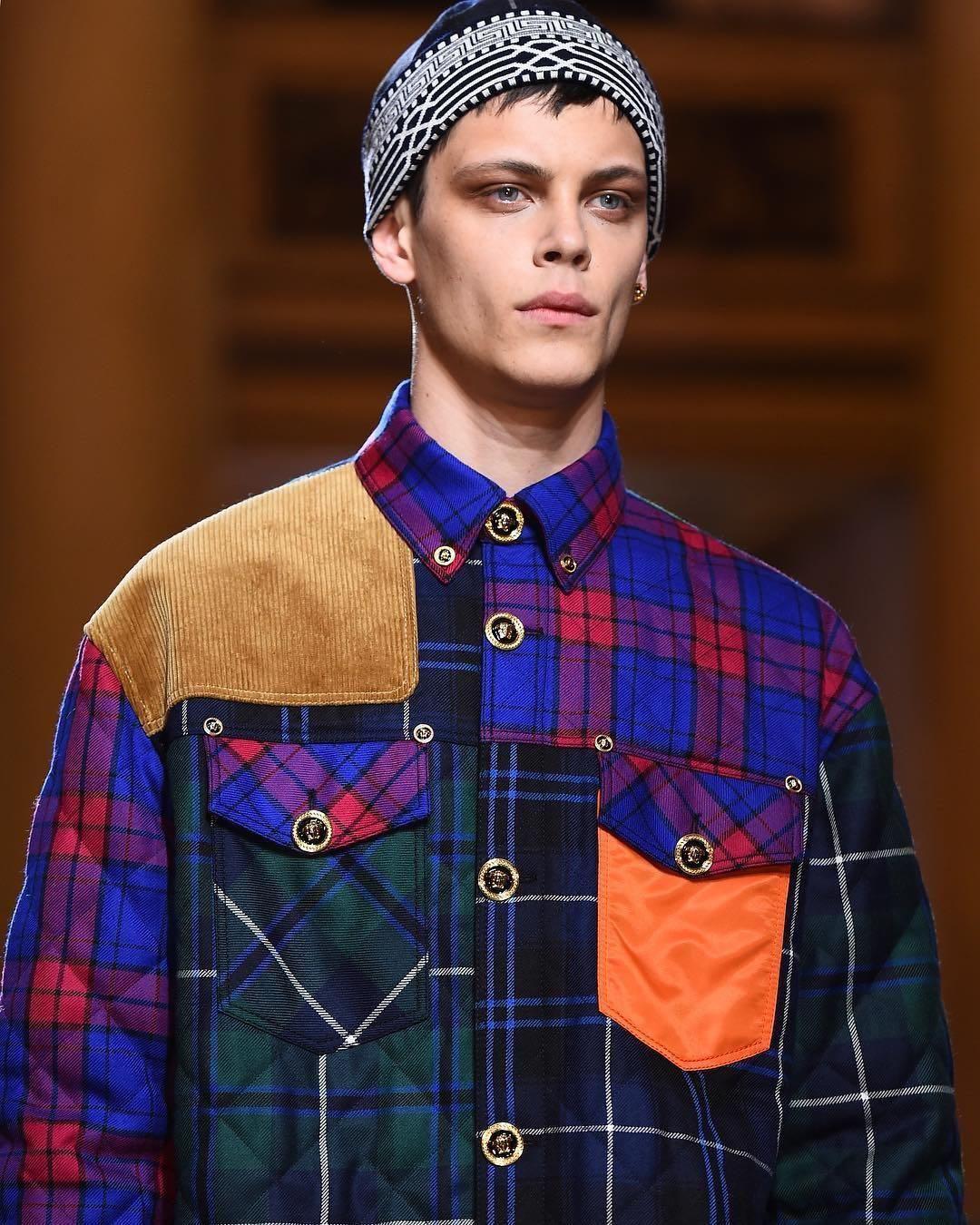 f75c8e9f946f  wishlist  1111  streetstyle  fallfashion from  Versace s closet  versace.  Quilted tartan printed shirt ...