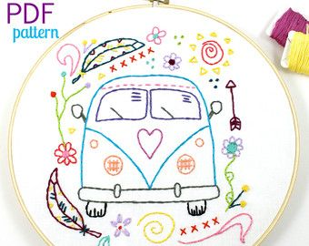 Retro Camper. Hand Embroidery Pattern. PDF Pattern. Summer. Camping. Travel. Road Trip. Embroidery Designs. Vintage Camper. Happy Camper.
