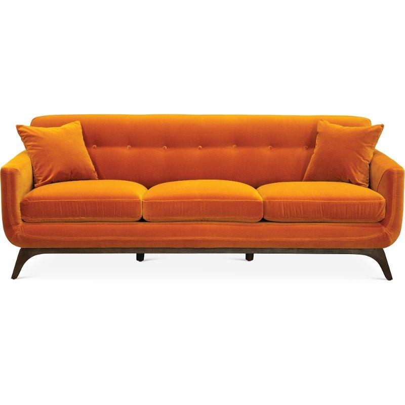 Mid Century Modern Amber Orange Sofa