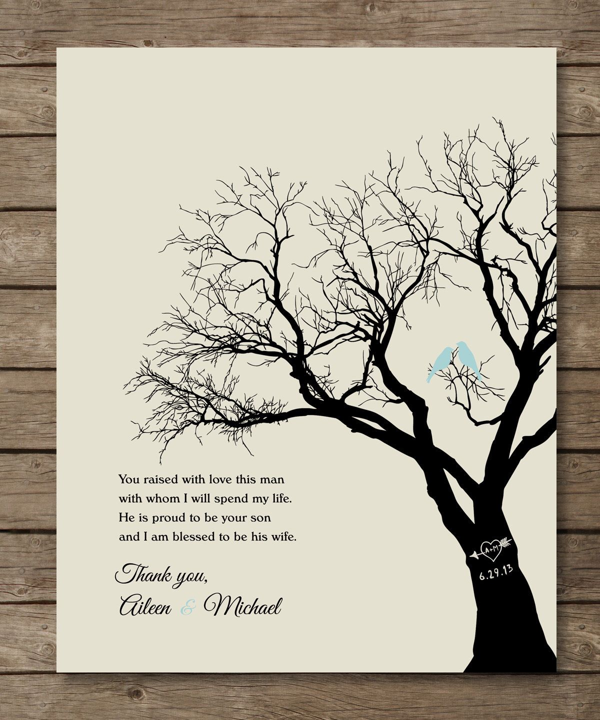 Parents Of The Groom Gift Personalized Wedding Tree Print Wedding