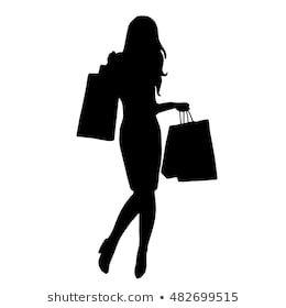 Silhouette Girl Shopping Bags Wektorowa ilustracja stockowa (bez tantiem) 105186236
