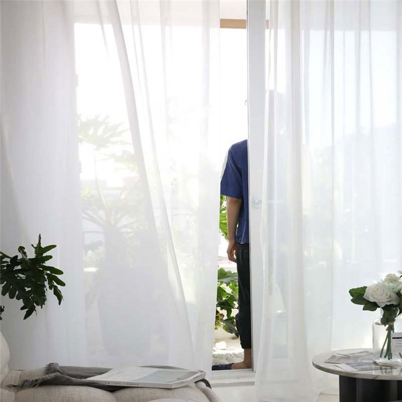 Solid White Sheer Curtain Modern Simple Sheer Curtain Living Room