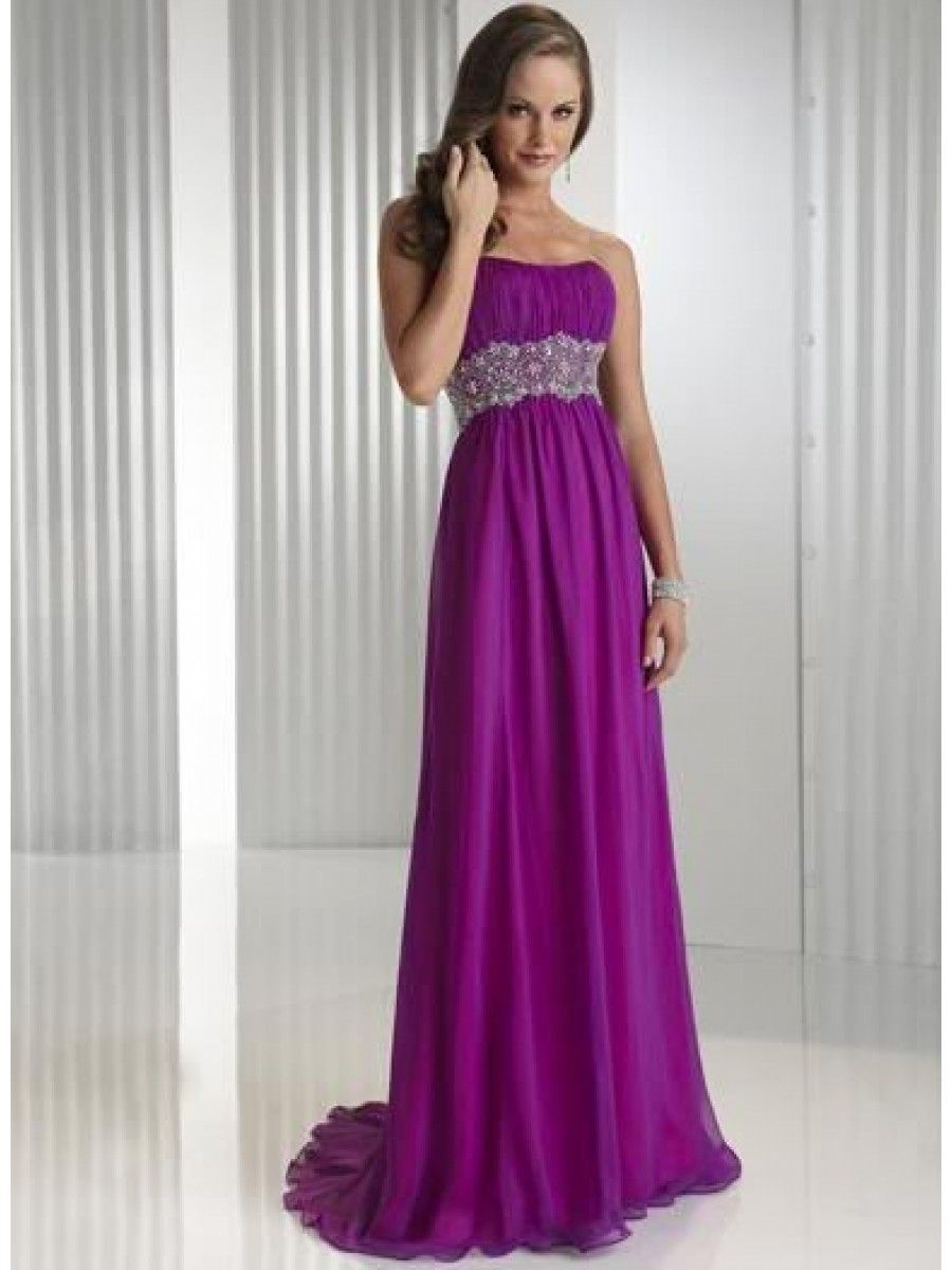 Cheap Empire Long Purple Chiffon Bridesmaid / Evening / Maternity ...
