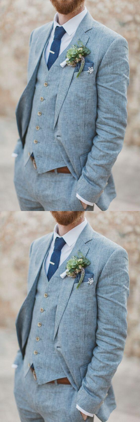 Light Blue Linen Men Suits For Beach Wedding 3 Piece Groom Tuxedos ...