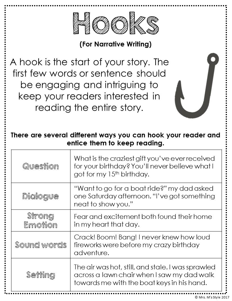 Narrative Writing Hooks Anchor Chart Writing Essays Funny Writing Essays Funny Writingessaysfu In 2021 Writing Instruction Elementary Writing Essay Writing Skills [ 1056 x 816 Pixel ]