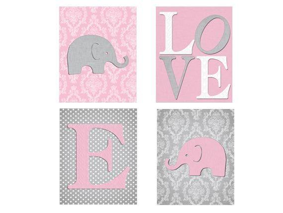 damaris kinderzimmer dekor, rosa grau kinderzimmer elefant ... - Kinderzimmer Grau Rosa