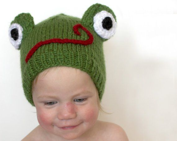 Frog hat. It's knit but still adorable.