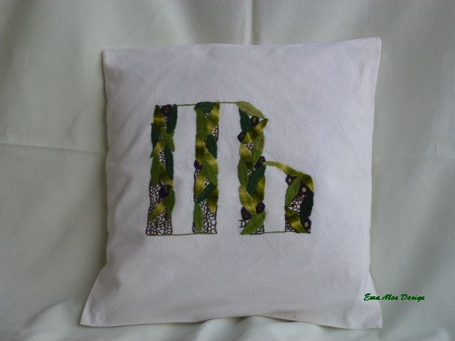 Letter D Angular Glagolitic Pillow Stylized Olive Tree Pillows Hand Embroidery Stylized