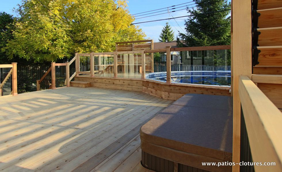Rampe de verre tremp pour patio de piscine hors terre for Piscine hors terre design